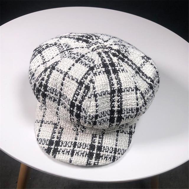 BUTTERMERE Women's Plaid Beret Hat Autumn Winter Female Newsboy Cap Vintage Black White Octagonal Cap Korean Ladies Painter Hat
