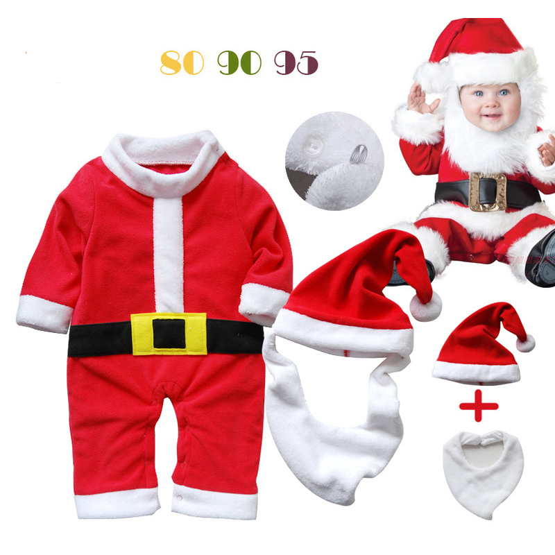 Babies 3PCS Christmas Santa Claus Rompers Suit Brand Infants Christmas Costume Suit Kids New Year Clothing Set inflatable cartoon customized advertising giant christmas inflatable santa claus for christmas outdoor decoration