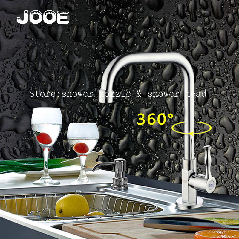 JOOE flexible Kitchen Faucet brass with Chrome Polished Modern Single Handle Faucets water Tap Sink cold