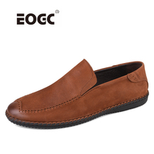 Natural leather slip-on nen casual shoes loafers spring and autumn men flats moccasins breathable driving shoes men Dropshipping цены онлайн