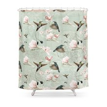 Vintage Watercolor Hummingbird And Magnolia Flowers On Mint Background  Shower CurtainSet For Bathroom With Floor Mat