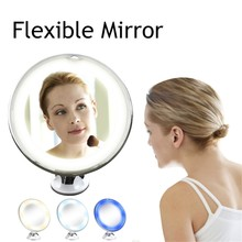 Макияж зеркальные линзы гибкие освещенные зеркала 10X увеличительное макияж мощность присоска-замок складной портативный инструмент красоты 19L0709