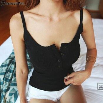 цена на Foxmertor Crop Top 2020 New Tank Top Summer Sexy Slim Solid Cotton Women Sleeveless Halter Pink Black White Bustier Crop Tops