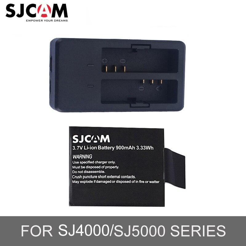 100% Original Sjcam batería + cargador para Sjcam Sj5000 Sj5000 Wifi Sj5000x más Sj4000 serie M10 Series deportes acción Cámara