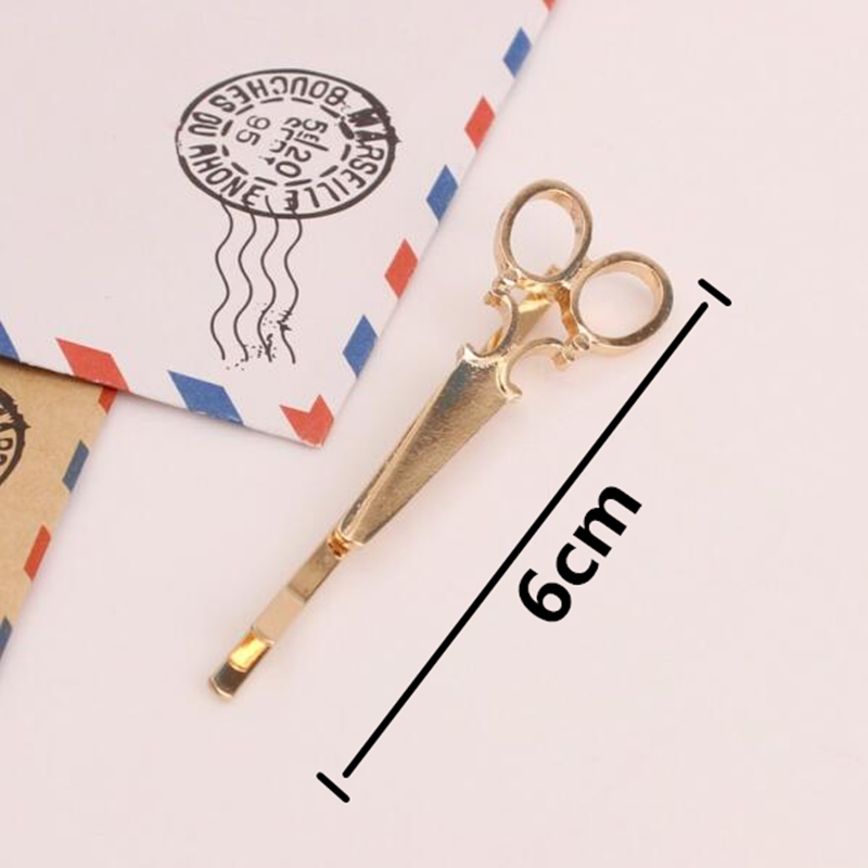 T35 Fashion Jewelry Silver Gold Color Scissors Hairclip Eyecatching Unique Scissors Hairpin Exquisite Hair Accessories Wholesale