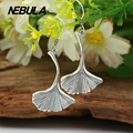 Real 925 Sterling Silver Vintage Ginkgo biloba Drop Earrings For Women Earrings Jewelry Thai Silver Leaves Earrings