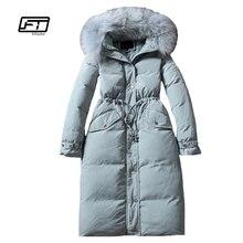 Fitaylor invierno mujeres 90% pato blanco abajo Parkas genuino Collar de piel de mapache encapuchado largo Slim Jacket Outwear abrigo