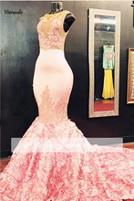 Pink 2019 Prom Dresses Mermaid Cap Sleeves See Through Lace Flowers Party Maxys Long Gown Evening Robe De Soiree