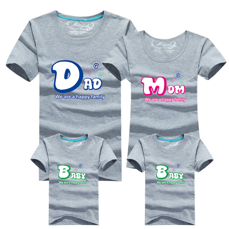 1 pièce De Mode Famille Correspondant Tenues T-shirt 16 Couleur Vêtements Pour correspondant à la famille vêtements mère père Bébé Chemise à Manches courtes