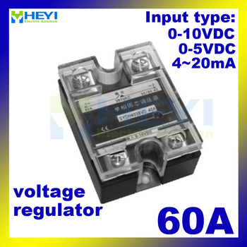 Input 4-20mA or 0-5VDC or 0-10VDC Voltage type 60A single phase solid state Voltage Regulator
