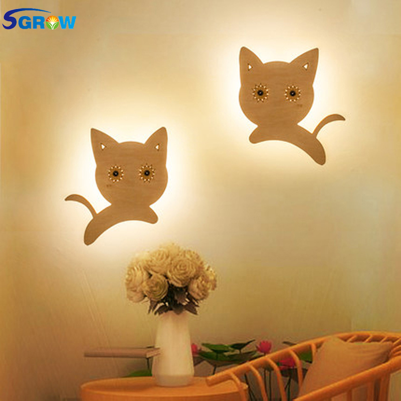SGROW Creative Wooden Cats Wall Lamp Children Cartoon Lovely Lights for Bedroom Dinning Room Aisle Stairs Wall Sconce LED Light creative cartoon baby cute led act the role ofing boy room bedroom chandeliers children room roof plane light absorption