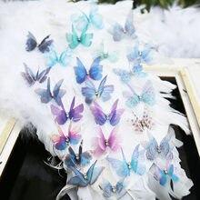 Patch papillon en fil de mousseline de soie Satin, couture sur les appliques, robe de bain, accessoires pour cheveux, sacs pour chaussures, bricolage de décoration de vêtements