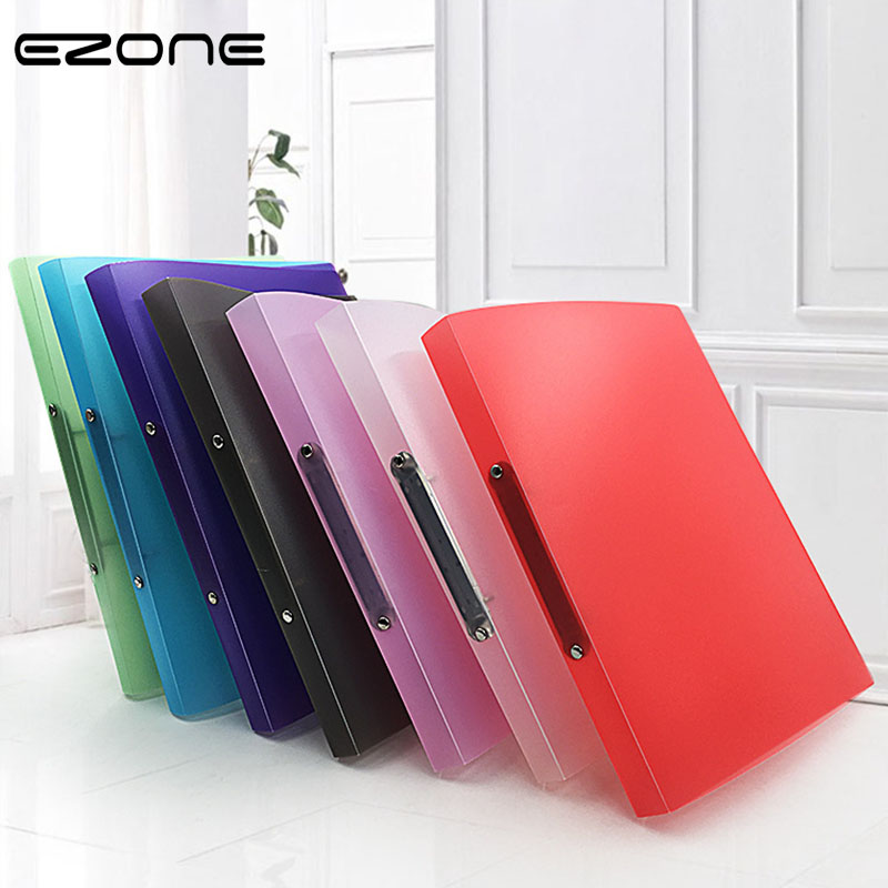 EZONE A4 Plastic Clip Folder 5 Colors Transparent Loose-leaf Binder Folder Office School File Pocket School Office Supply