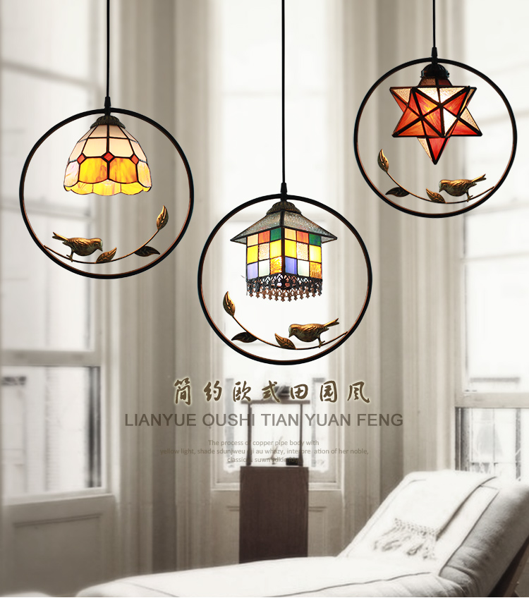 Mediterranean bird house pendant light stained glass for Restaurant bar lamp aisle balcony entrance droplights light the mediterranean restaurant in front of the hotel cafe bar small aisle entrance hall creative pendant light df57