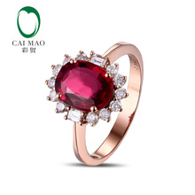CaiMao 1.65ct Natural Pink Tourmaline & 0.40ct Diamond 18k  Gold gemstone engagement ring Fine Jewelry