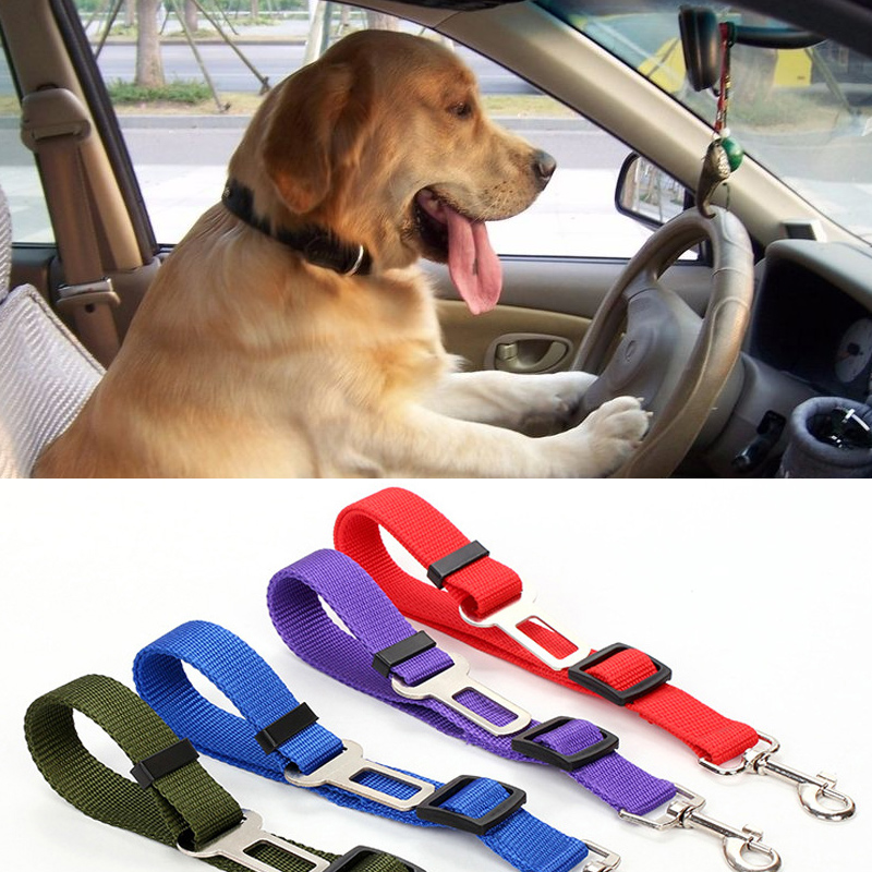 Car Pet Safety Seat Belt Leashes 60cm Harness Lead Clip Adjustable Vehicle Dog Leash Traction Rope 2.5cm Width Travel Drive