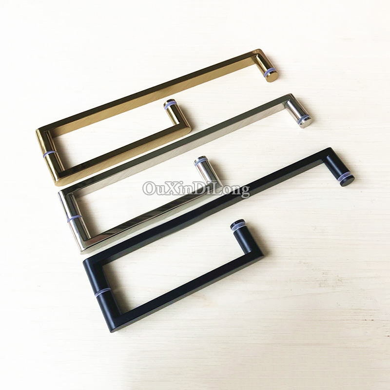 High Quality 2PCS Stainless Steel L Shape Shower Door Pull / Push Handles Bathroom Glass Door Handles Towel Bar C-C:425*225mm top designed 1pair frameless shower bathroom glass door handles o shape pull push handles glass mount chrome finished
