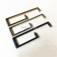 High Quality 2PCS Stainless Steel L Shape Shower Door Pull / Push Handles Bathroom Glass Door Handles Towel Bar C-C:425*225mm