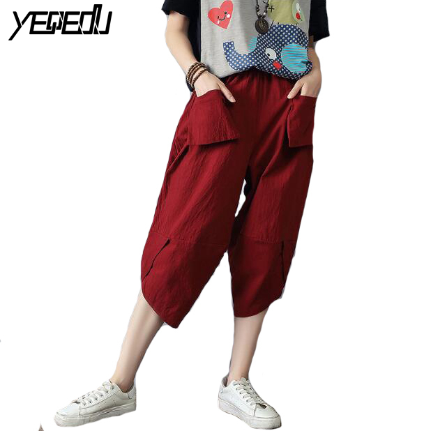 #0415 Summer 2019 Cotton Linen   Pants   Women Plus Size Harem   Wide     Leg     Pants   Casual Loose Pockets Thin Calf-length Red Grey Blue