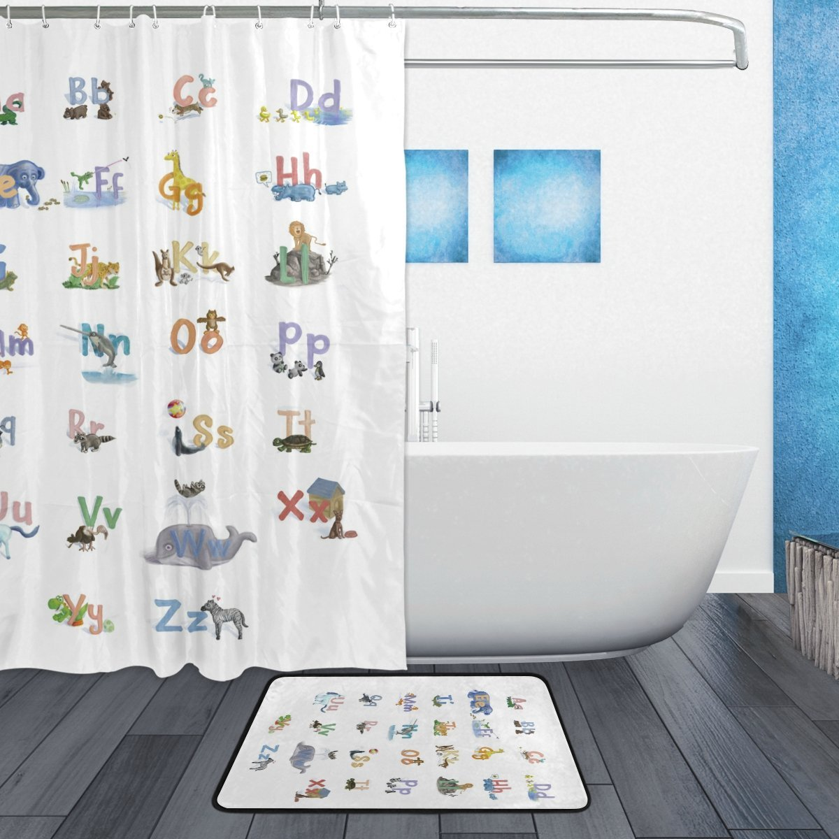 Learning Tools for Kids Shower Curtain and Mat Set, ABC Alphabet ...
