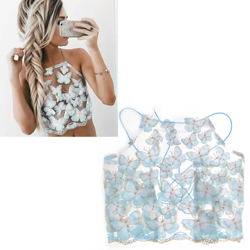 Ladies Sexy Butterfly Embroidery See Through Lace Halter Crop top Backless Hollow Out Sleeveless Bustier Womens Bralet Cami Tank
