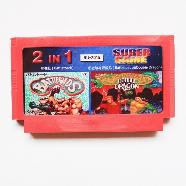 Rare 8 Bit Game Card 2 In 1 Battletoads Double Dragon Promotion Russian Language