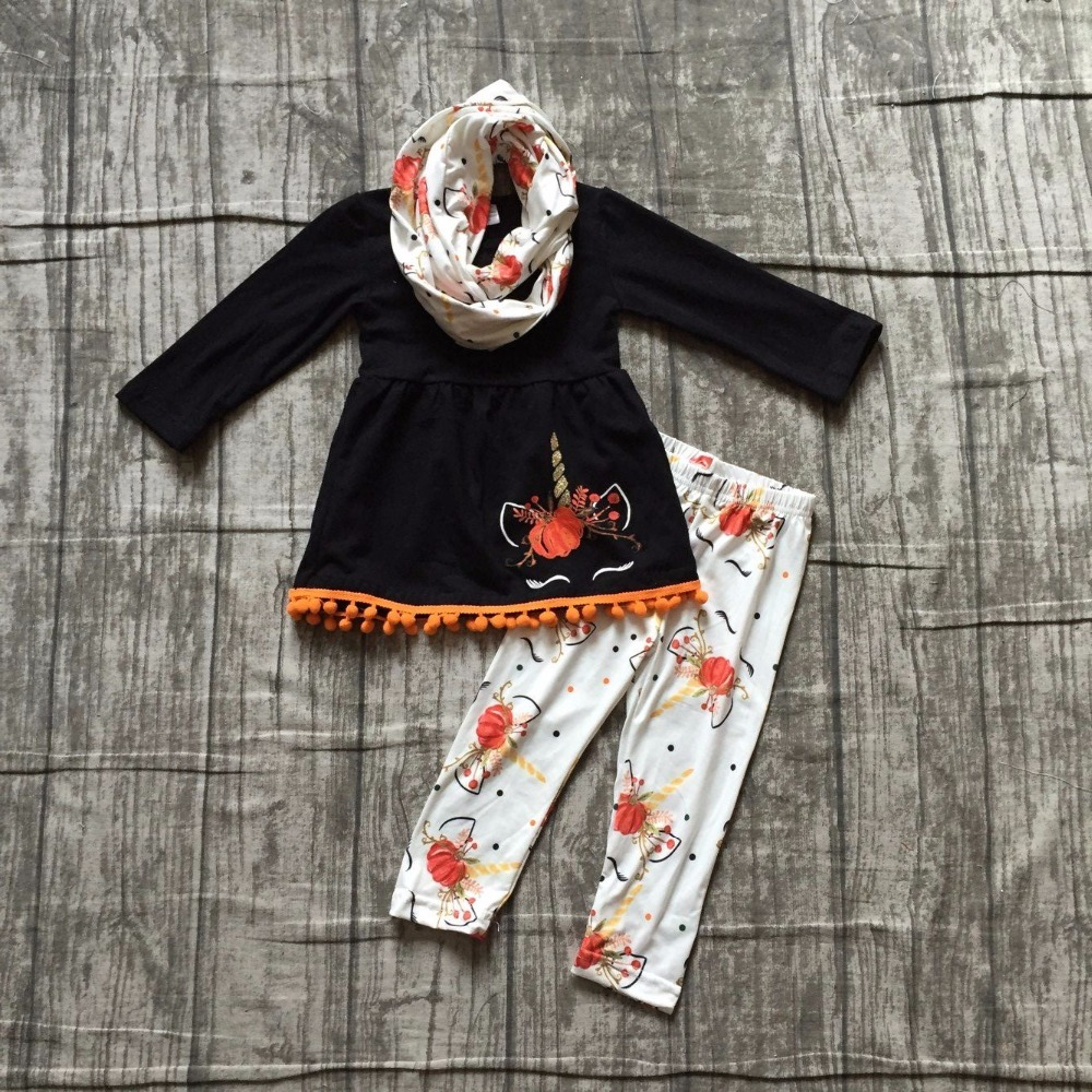 girls Winter outfits 3 pieces with scarf Halloween clothes children girls black top with pumpkin unicorn pants and scarf outfits girls winter outfits 3 pieces with scarf sets halloween clothing children girl black top with stripes pumpkin pants outfits sets