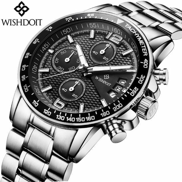 d54059f7c7bc WISHDOIT Marca Multifunción Cronógrafo Cuarzo de Los Hombres Militares Relojes  de Moda Reloj Deportivo Hombre Reloj