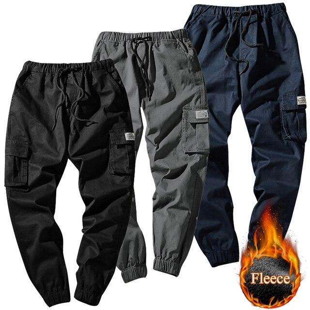 ace90cd3356bb0 Men Hip Hop Velvet Pants Casual Warm Cotton Black Cargo Pant with Multi  Pocket Pants for Male Jogger Sweatpants Plus Size