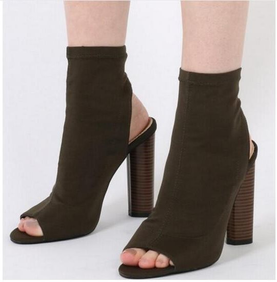 Summer New Fashion Cut-Outs High Heel Boots Sexy Open Toe Ankle Boots Fashion Stretch Fabric Gladiator Sandal Boots Free Ship