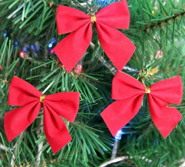 Free Shipping Small Red Christmas Bow 6cm 5cm Tree Ornament