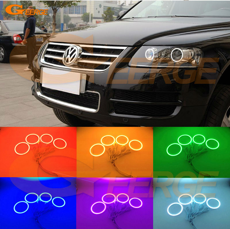 For Volkswagen VW TOUAREG 2004 2005 2006 2007 XENON HEADLIGHT led Angel Eyes Multi-Color Ultra bright RGB LED Angel Eyes kit led headlight lights angel eyes