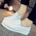 2016 holgazanes planos del cuero genuino zapatos altura creciente zapatos blanco negro estudiantes señoras resbalón perezosos zapatos planos ocasionales
