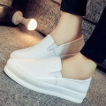 2016 loafers genuine leather flats shoes height increased shoes white black students ladies slip on lazy casual flats shoes