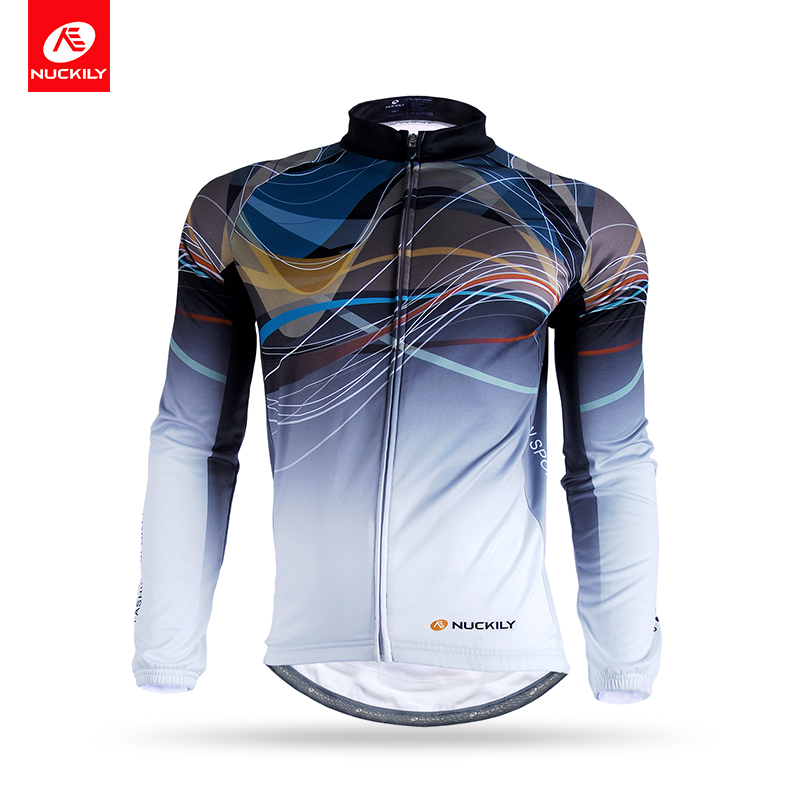 NUCKILY Winter Cycling Jersey Men Thermal Custom Bicycle Wear Long Sleeve Warm Bike Jacket For Cyclist NJ531-W nuckily nj513 cycling polyester short sleeve riding jersey for men black white size l