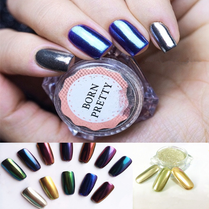 1g/Box Born Pretty Gold Silver Mirror Powder Holographic Powder Nail Glitter Powder Nail Art Sequins Chrome Mirror Polish