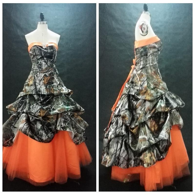 New Custom Vogue Camo Prom Dress Orange Skirt Draped ...