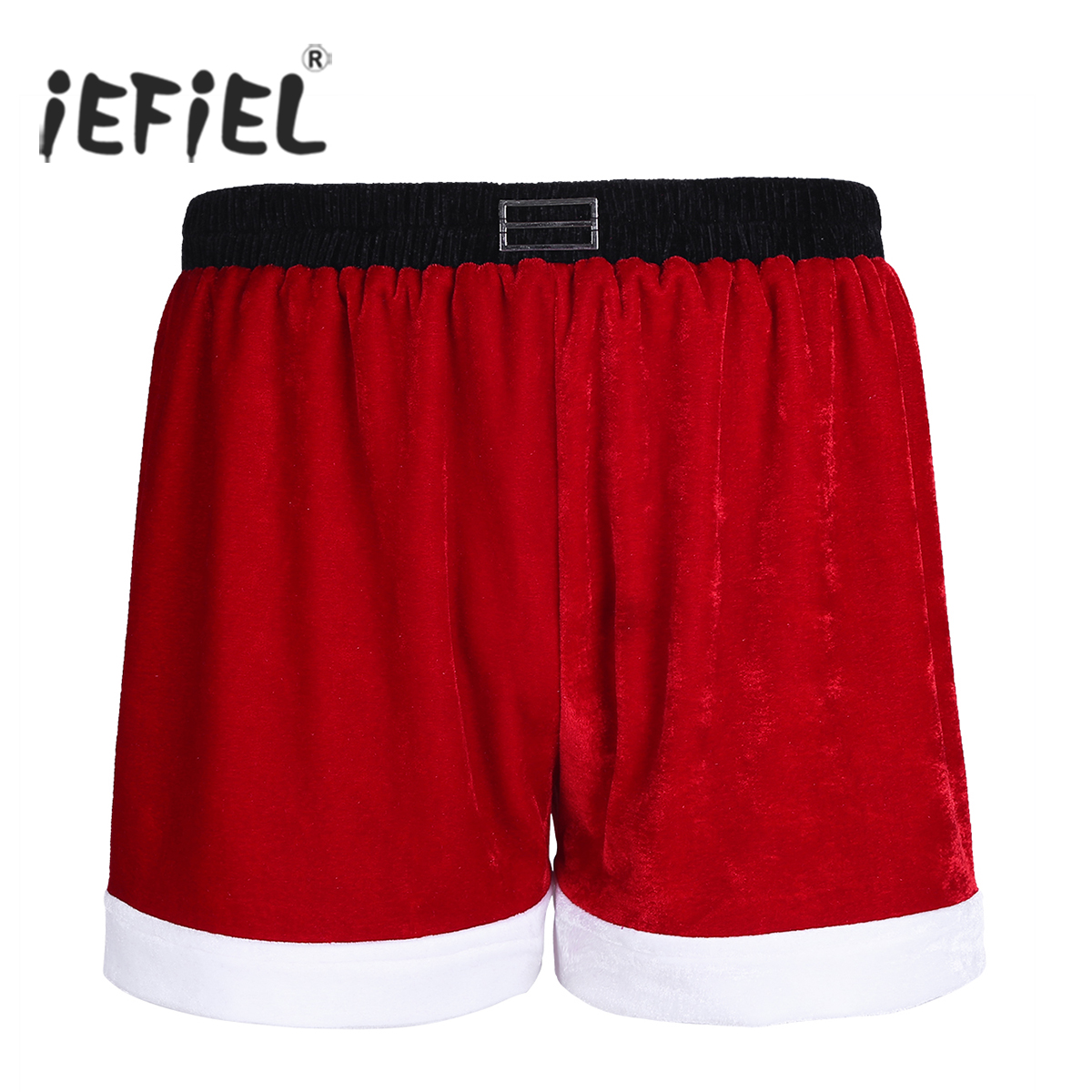 iEFiEL Red Mens Flannel Santa Claus Costumes white flannel trimmings Holiday Boxer Shorts for Christmas Party Male Shorts