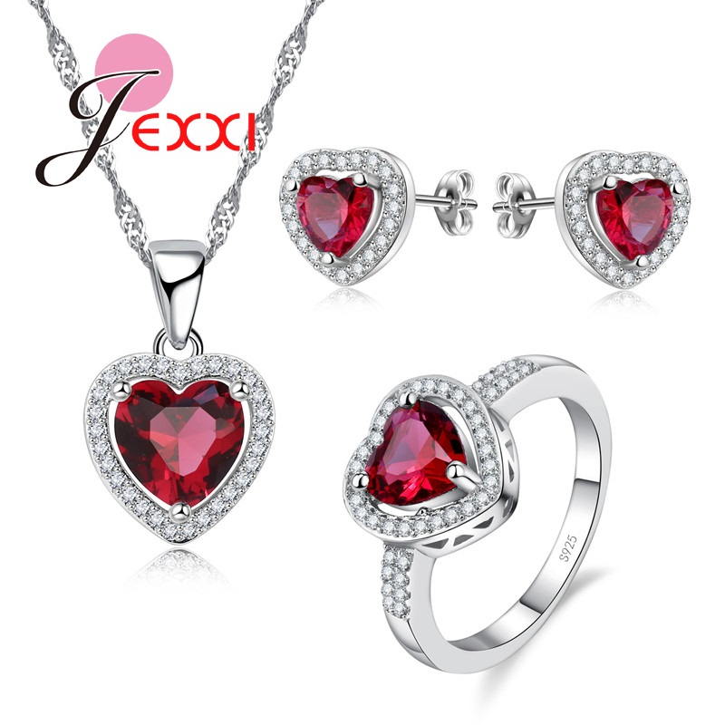 Pendant Necklace Jewellery-Sets Stud-Earrings 925-Sterling-Silver Princess Fashion Woman