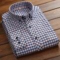 2017 nueva moda de alta calidad de algodón casual manga larga camisas de tela escocesa de los hombres delgados masculinos clothing fit camisas pm002