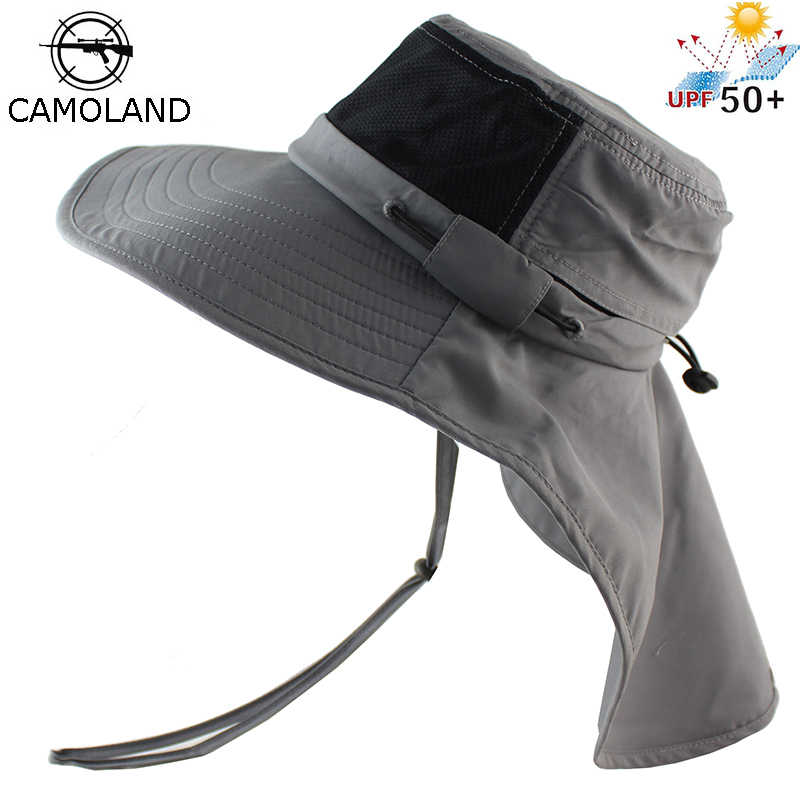 15001c701a6 Summer Sun Hat Bucket Men Women Boonie Hat with Neck Flap Outdoor UV  Protection Large Wide