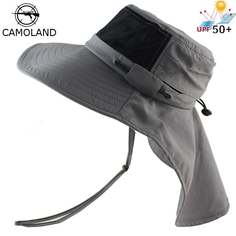 Mens Sun Hat Bucket Fishing Hiking Hat Wide Brim Casual UV Protection Hat Summer