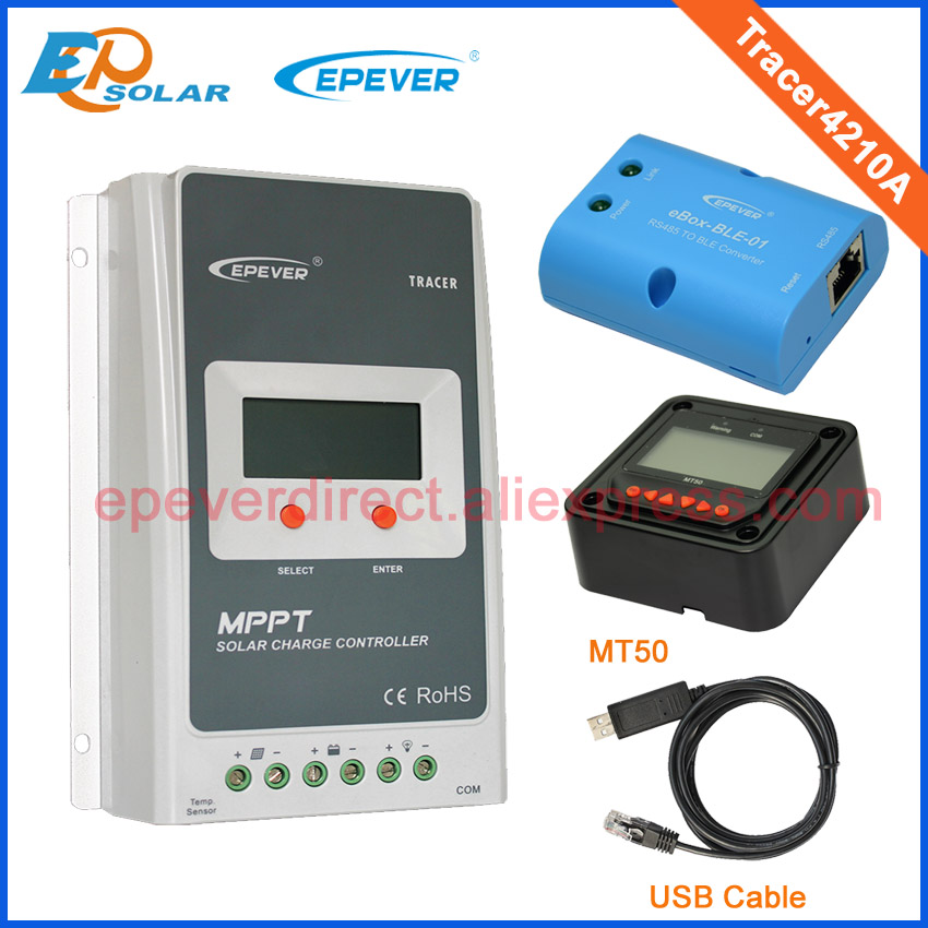 portable solar panel charger Tracer4210A with MT50  BLE and USB cable 40A