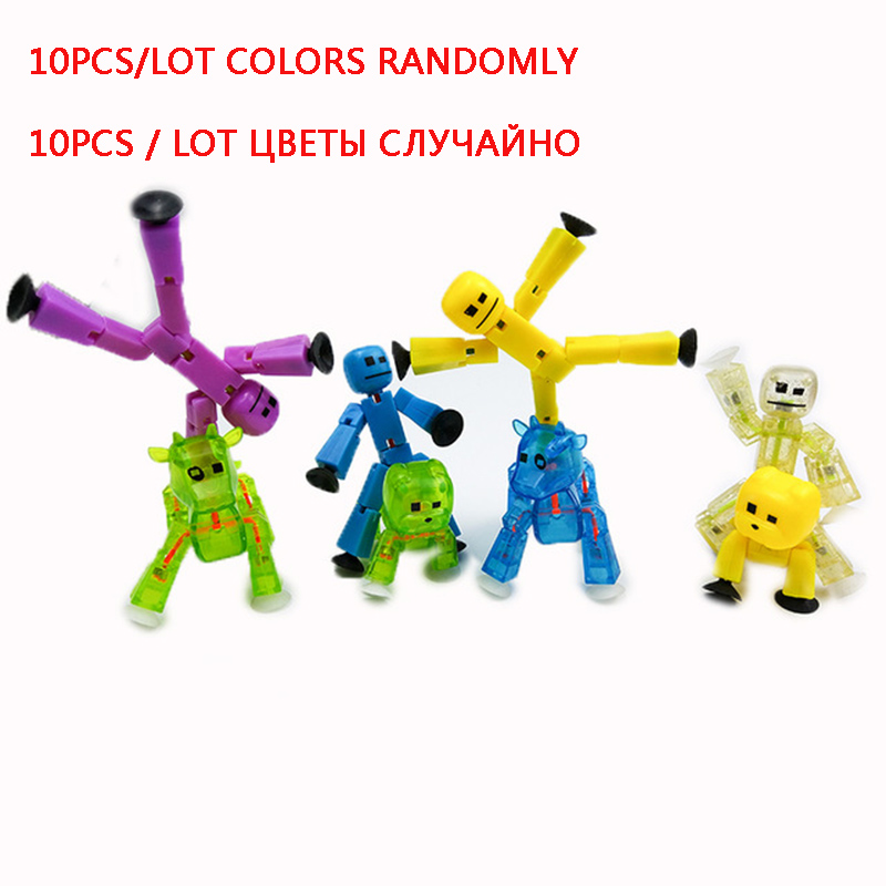 10pcs lot Colors Randomly sending cute Sticky Robot Sucker Suction Cup funny deformable stick bot action