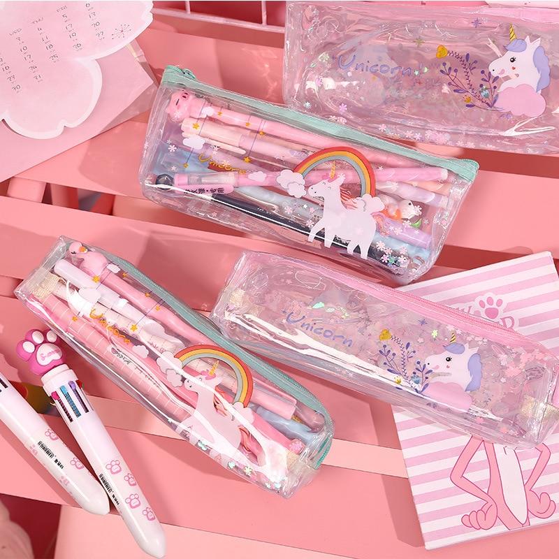 Cute Pvc Transparent Unicorn Animal Cartoon Liquid Water Pencil Bag & Case Kawaii Storage Pen Bag for School Kids Gift Wholesale