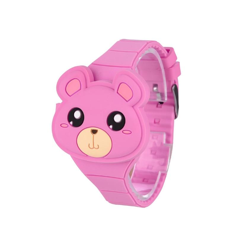 Cute 3D Cartoon Bear Kids Watches Boys Girls LED Digital Date Childrens Watch Sports Flip Silicone Wristwatch 2-8 Years Old PJ