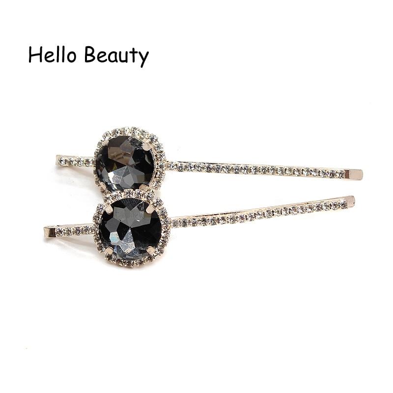 1 par koreansk mote nytt hår tilbehør rosa krystall hår barrette - Mote smykker - Bilde 4