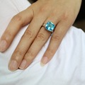 Rings For Women 925 Sterling Silver Engagement Big Blue Crystal Stone Zircon Ring For Wedding Bridal Bague Size 6 7 8 9 10