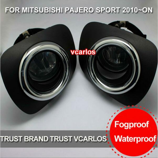 ФОТО Hireno Car DRL Waterproof ABS 12V Daytime Running Lights for Mitsubishi PAJERO 2010 Fog lamp 2PCS