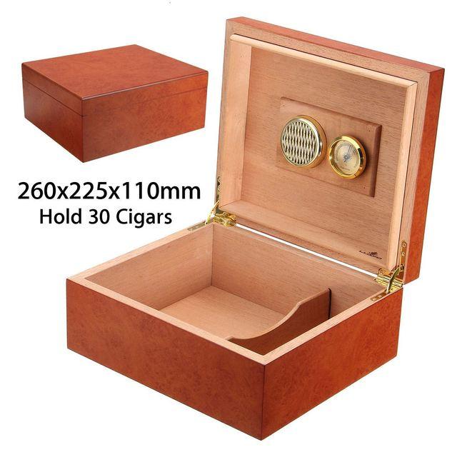 30 Count Cedar Wood Lined Cigar Humidor Case Humidifier